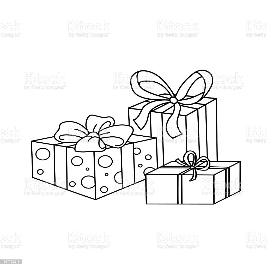 Coloring Page Outline Of Cartoon Holiday Gifts Stock