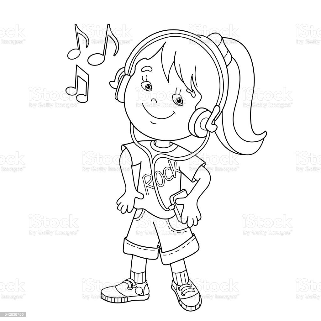 Coloring Page Outline Of Girl In Headphones Listening To