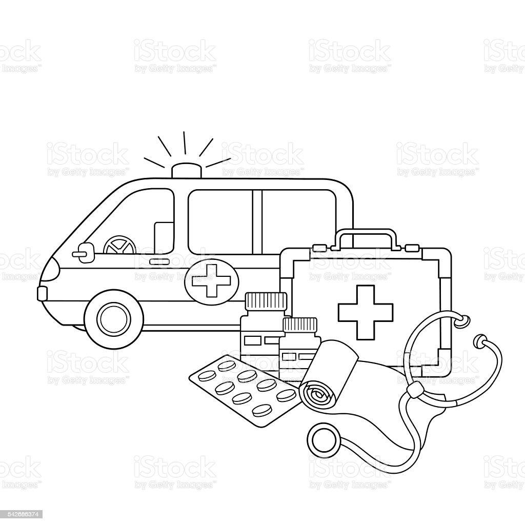 Coloring Page Outline Of Medical Instruments Medical Logo