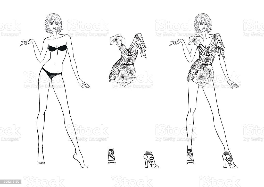 Coloring Page Paper Doll And Flower Fantasies Clothes For