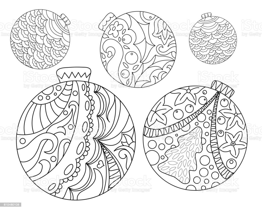 Coloring Page With Christmas Tree Ornaments Christmas Fir Tree
