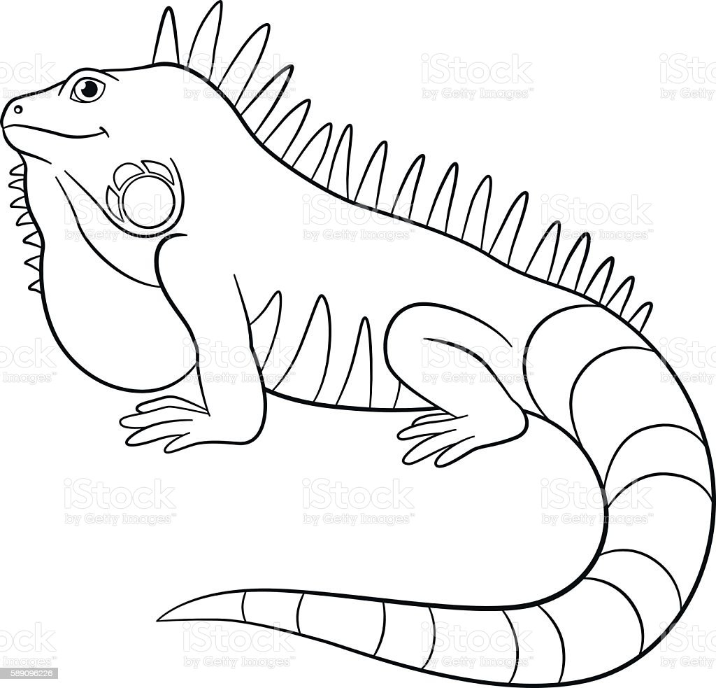 Coloring Pages Cute Iguana Smiles Stock Illustration