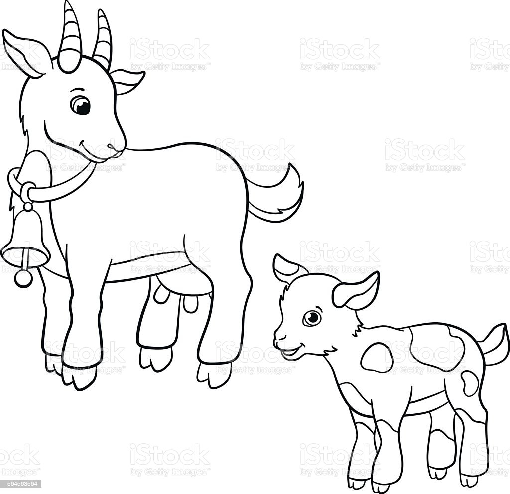 Coloring Pages Farm Animals Cute Goat Stock Vector - Auto ... on