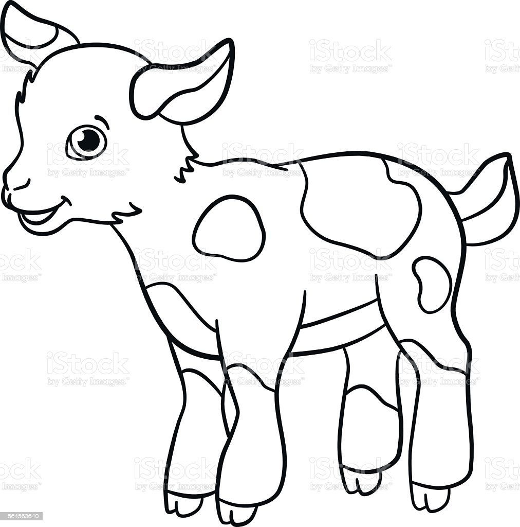 Coloring Pages Farm Animals Little Cute Goatling Smiles