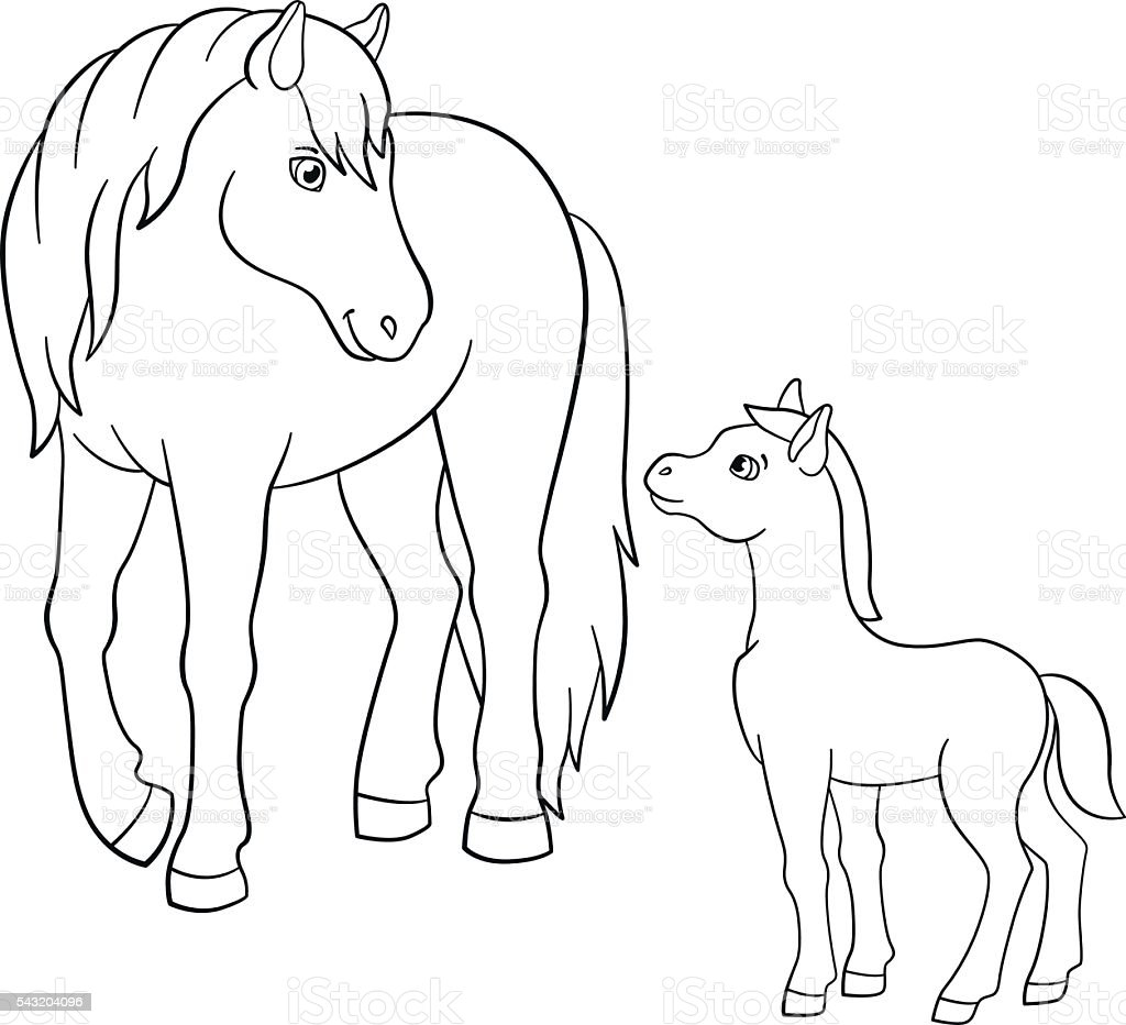 Coloring Pages Farm Animals Mother Horse With Foal Stock