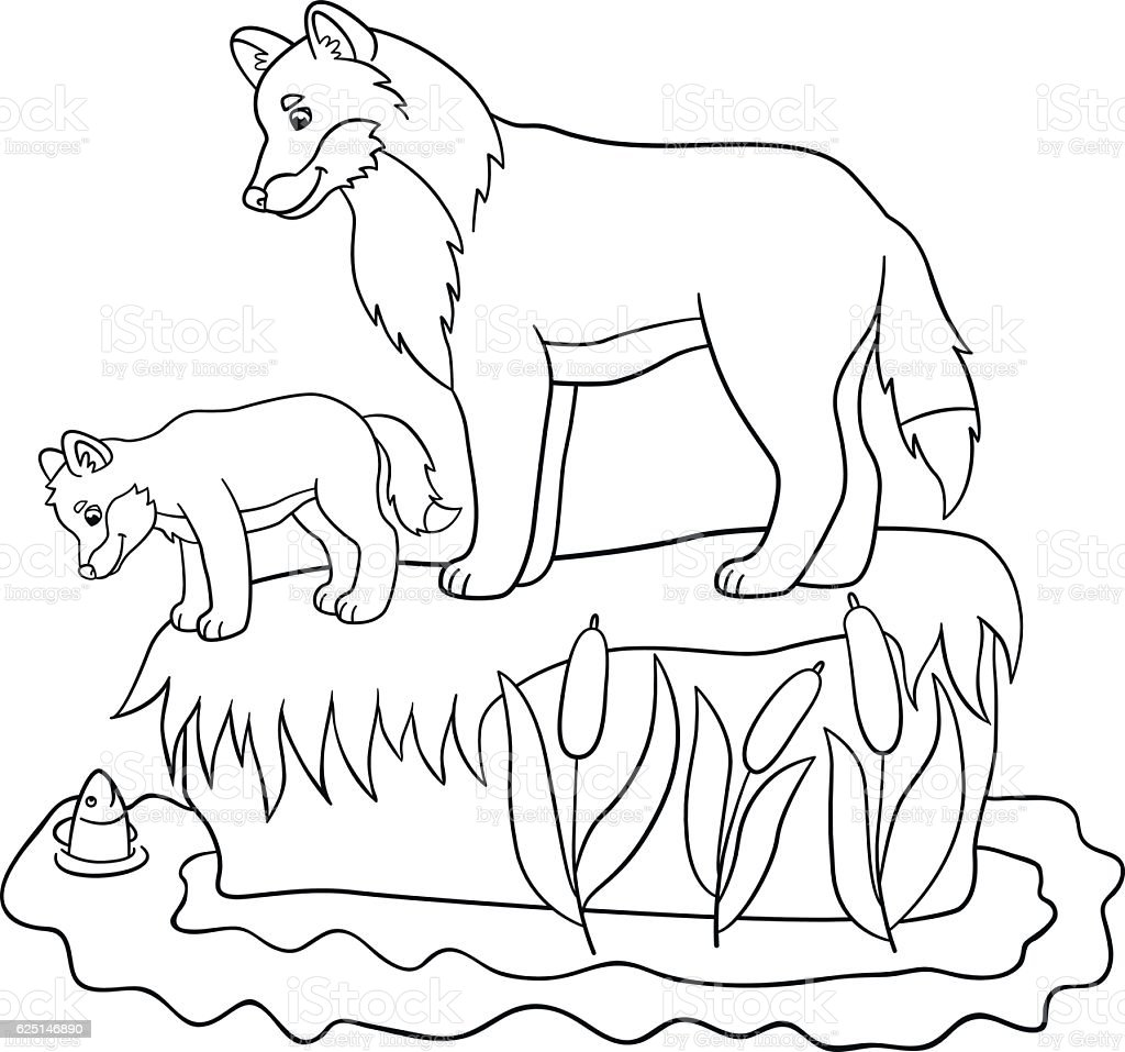 Coloring Pages Father Wolf With His Cute Baby Stock Vector