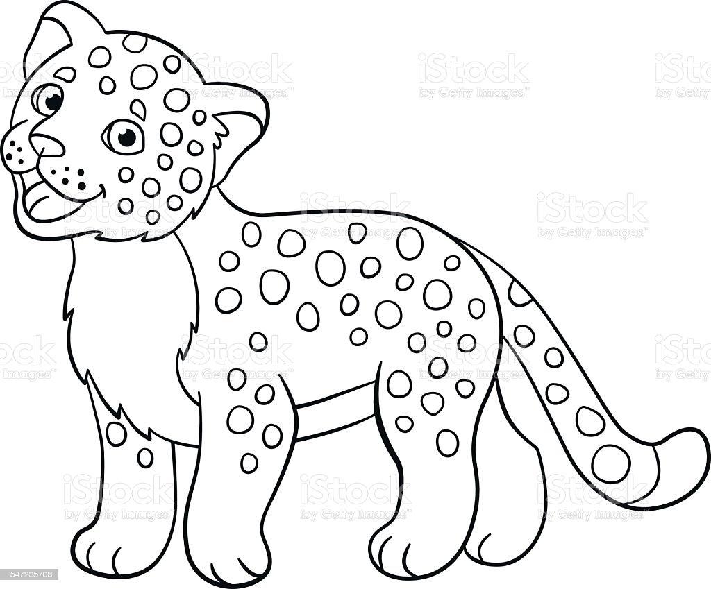 Coloring Pages Little Cute Baby Jaguar Smiles Stock Vector Art