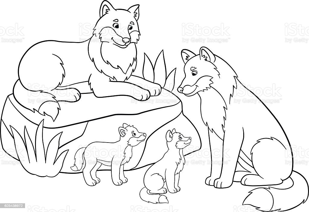 Coloring Pages Mother And Father Wolves With Their Babies