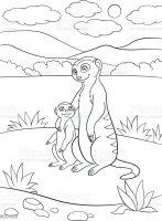 Malvorlagen Mutter Erdmännchen Mit Ihren Niedlichen Baby ...