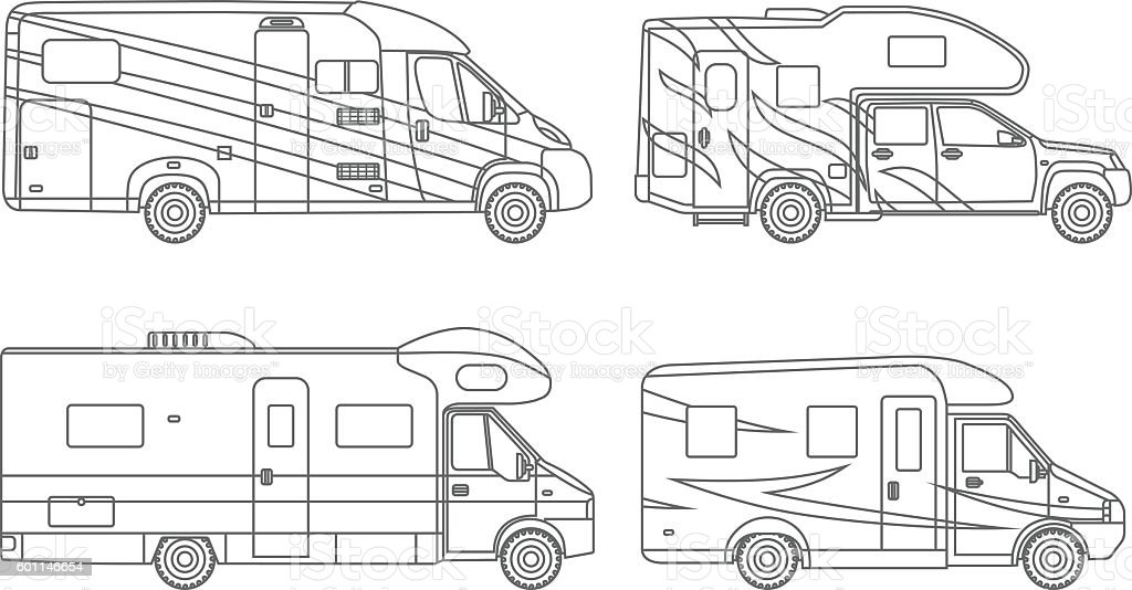 Coloring Pages Set Of Different Silhouettes Travel