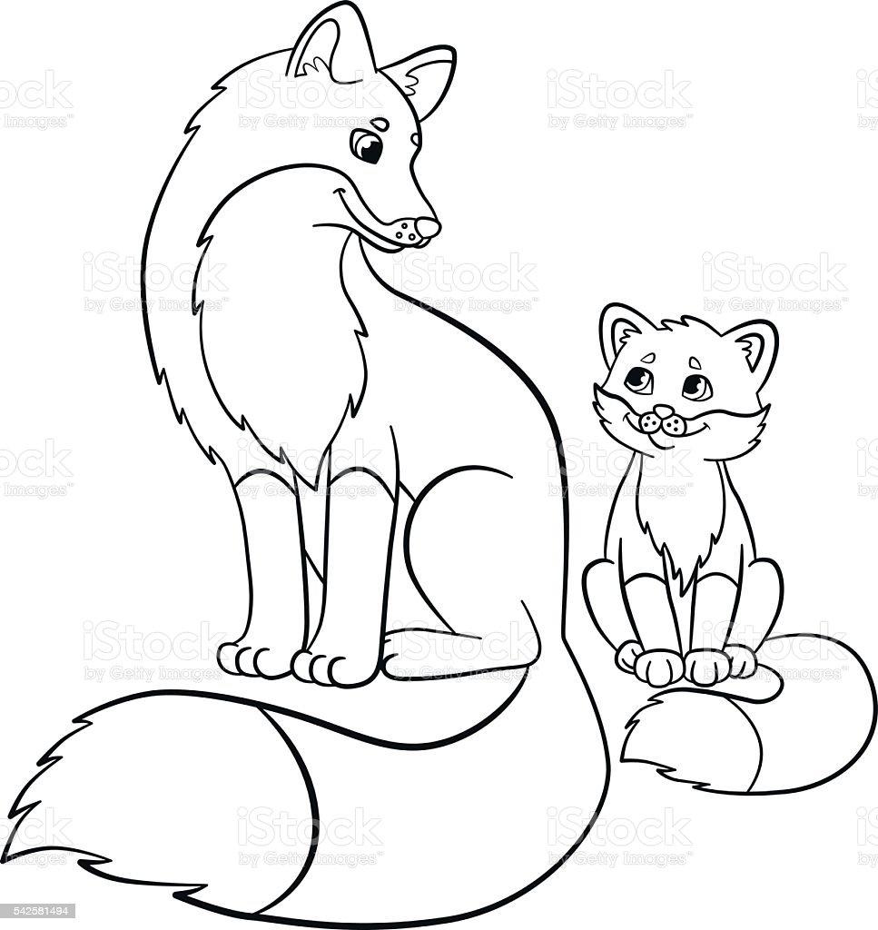 Libri Da Colorare Animali Selvatici Madre Con Il Figlio Di