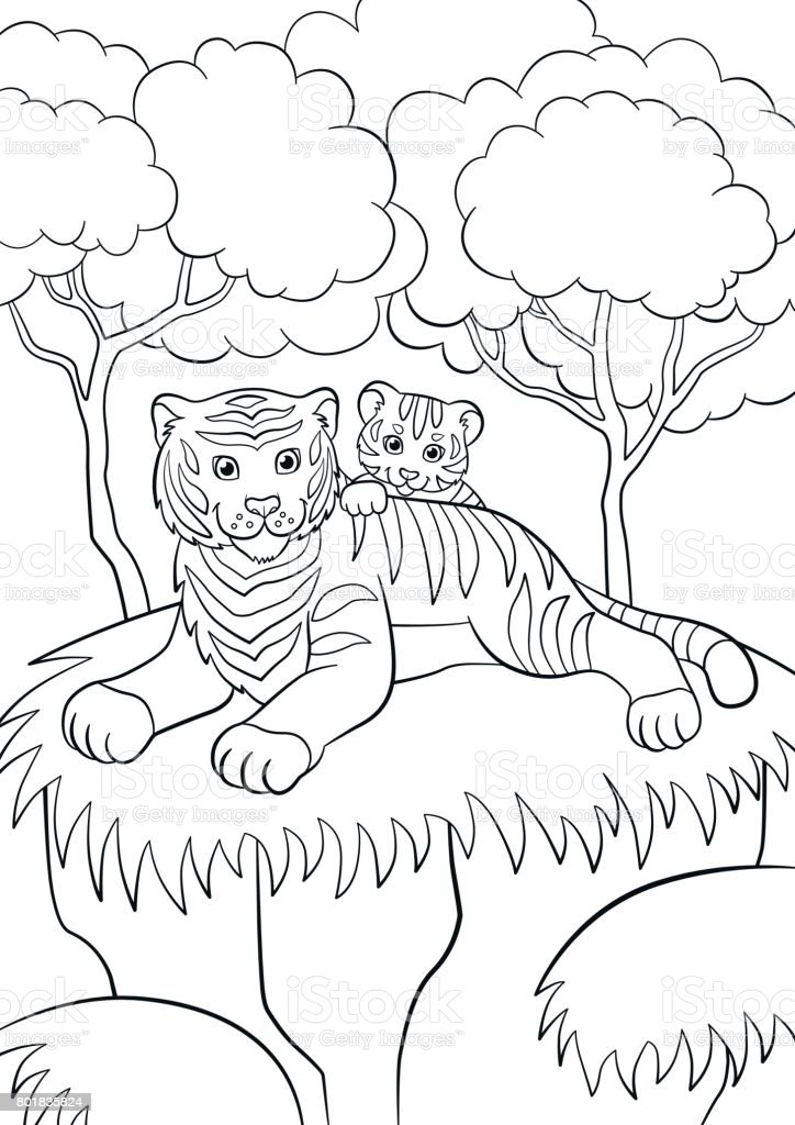 Coloring Pages Wild Animals Smiling Mother Tiger With Her
