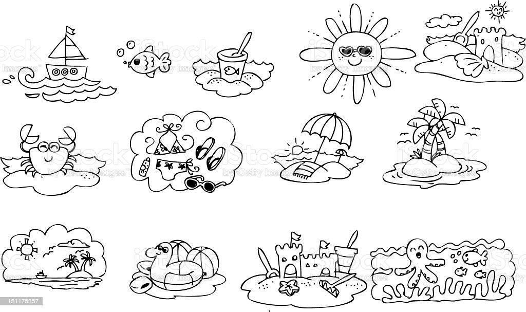 Colorir Elementos De Verão Download Vetor e Ilustração