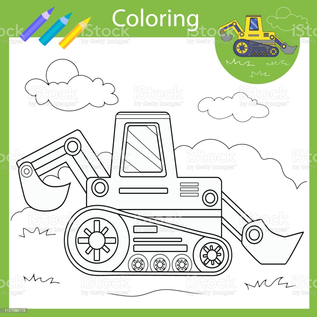 hight resolution of Coloring With Draw Tractor Drawing Worksheets Children Funny Picture  Coloring Page For Kids Drawing Lesson Activity Art Game For Book Vector  Illustration Stock Illustration - Download Image Now - iStock