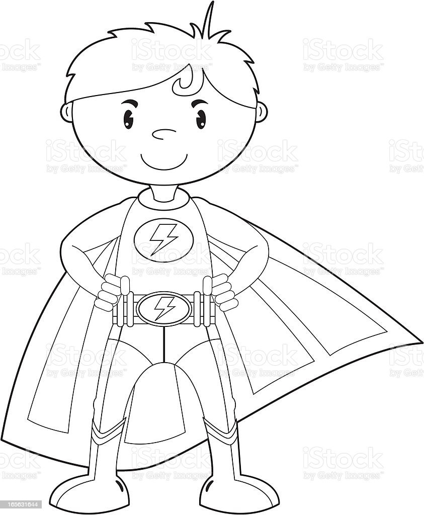 Colour In Super Boy Hero Character Stock Illustration
