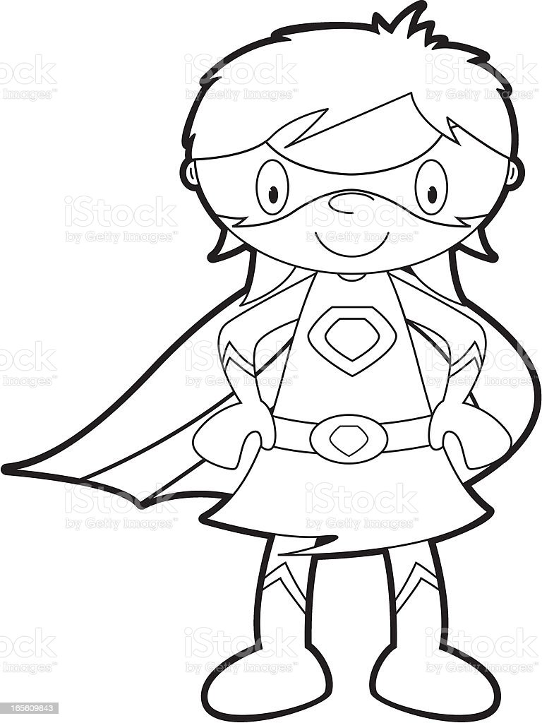 Colour It In Super Girl Template Stock Vector Art & More