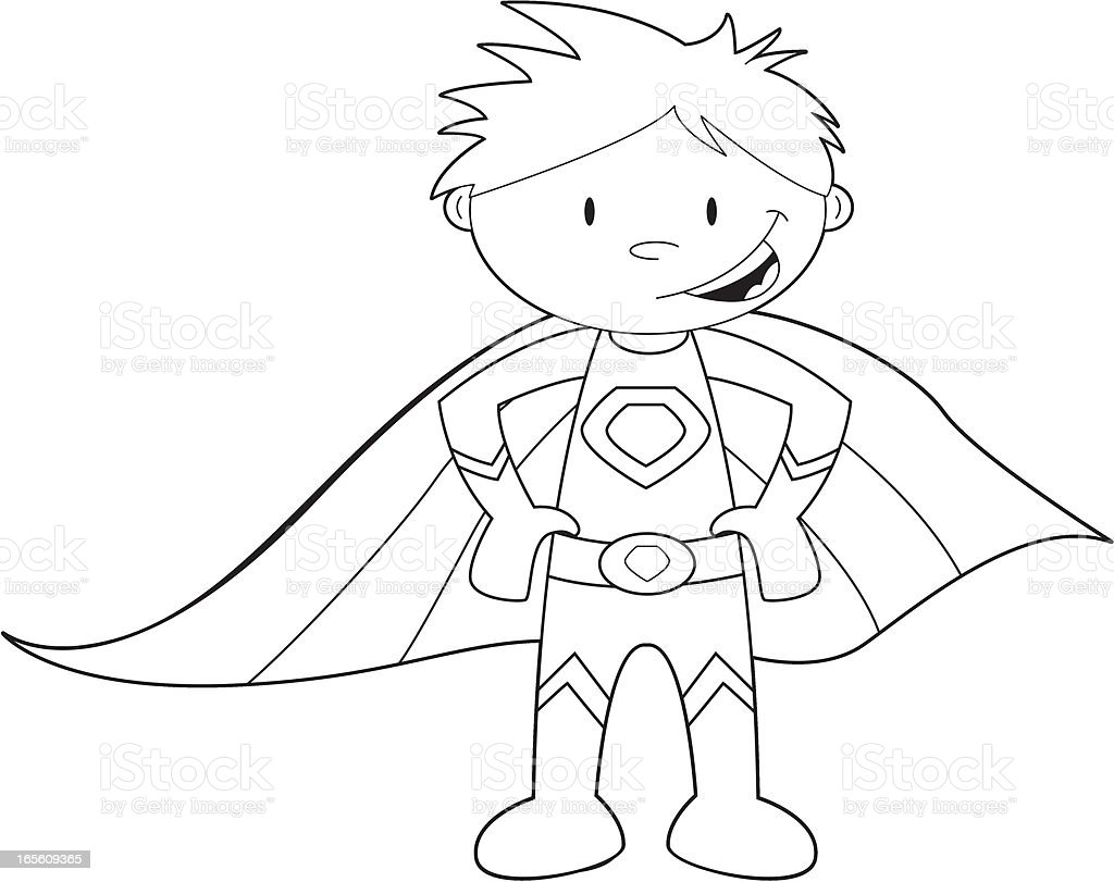 Colour It In Super Hero Template stock vector art