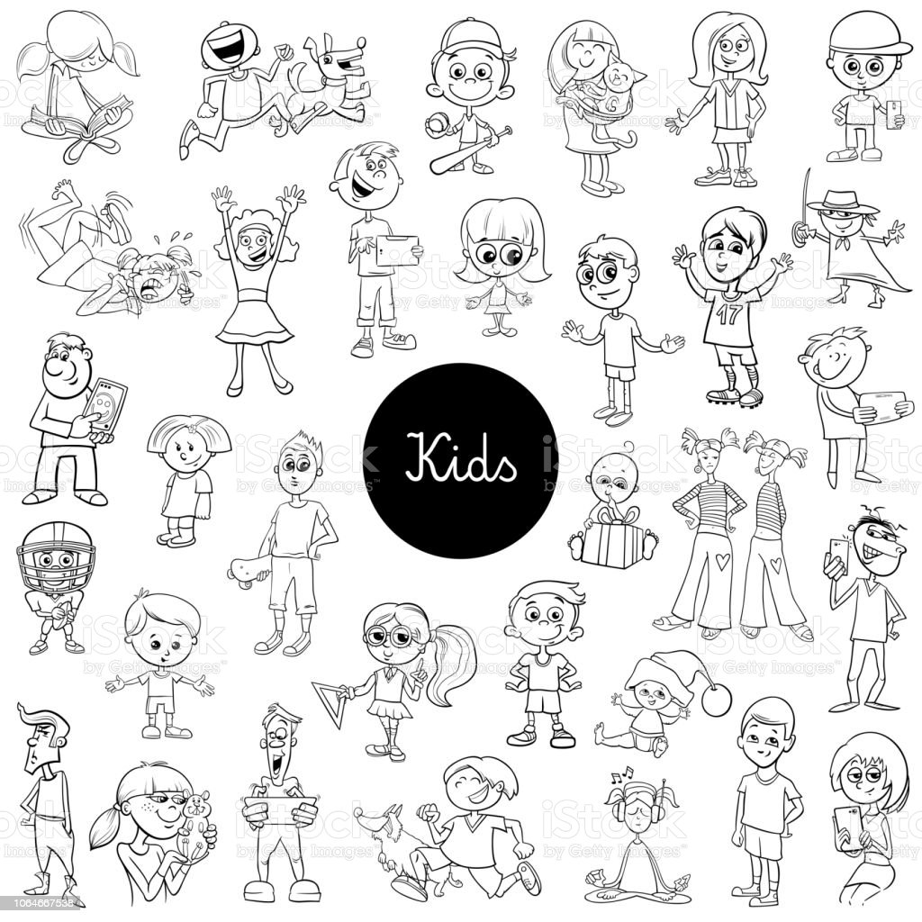 Comic Kids Characters Black And White Set Stock Vector Art