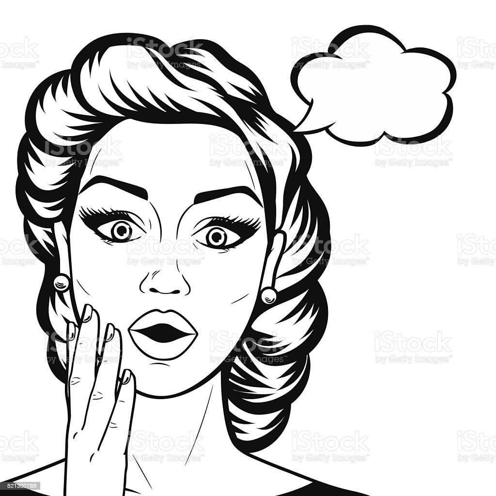 Comic Line Art Surprised Woman Face With Open Mouth