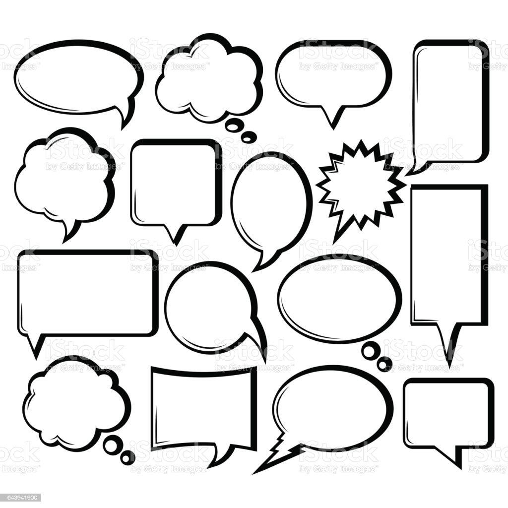 Comicoutline Speech Bubble Collection Stock Vector Art