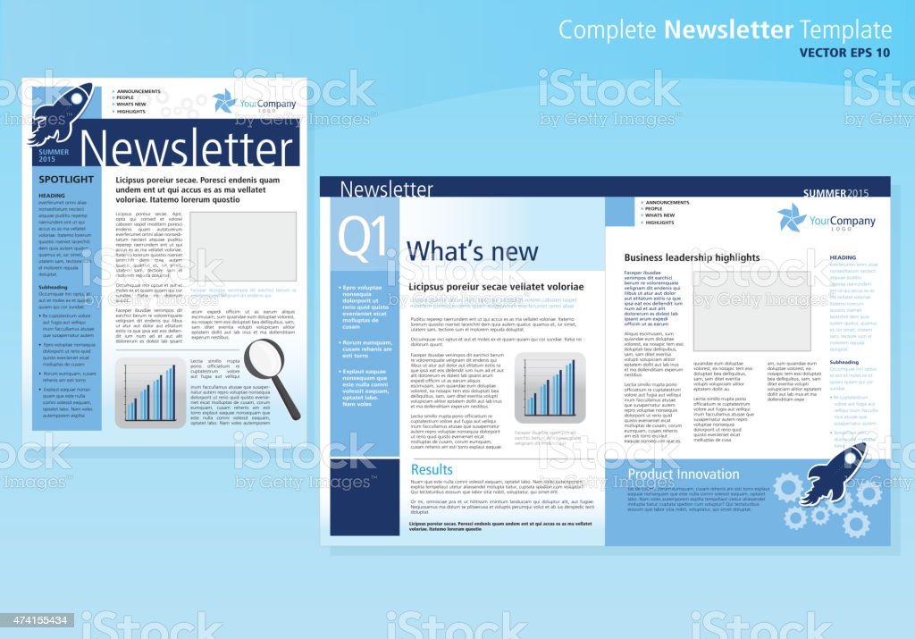 Company Business Newsletter Cover And Inside Layout Design