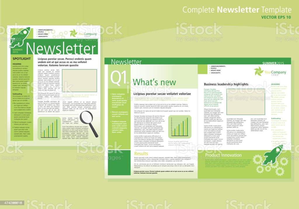 Company Green Business Newsletter Cover And Inside Layout