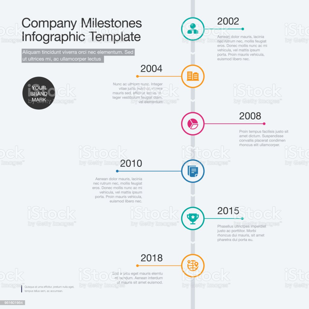 Company Milestones Timeline Template With Colorful Circles