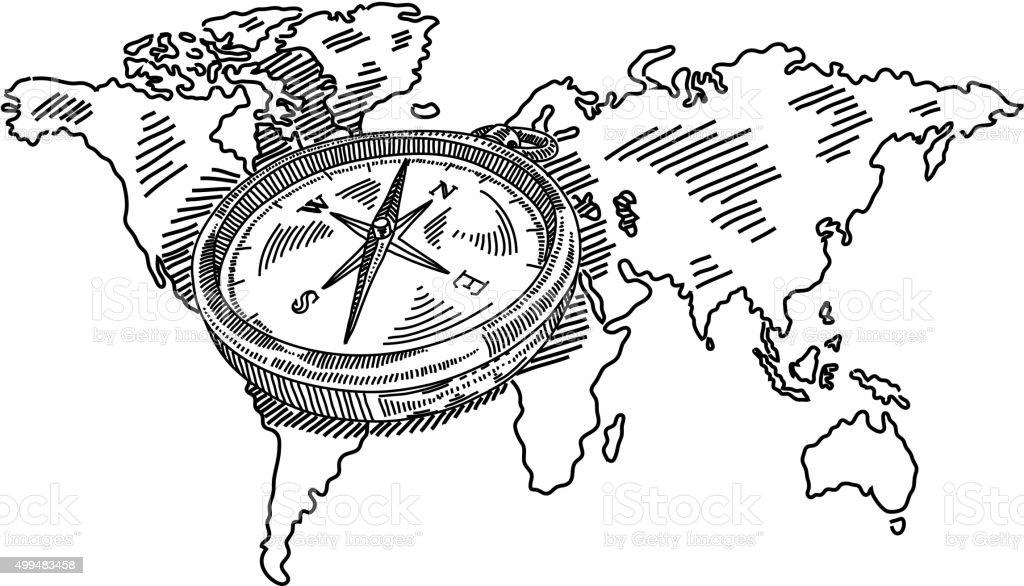 Carte Du Monde De Dessin Avec Une Boussole