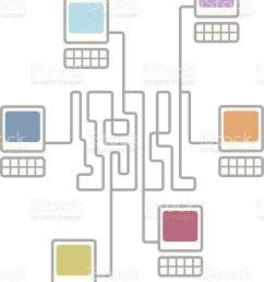 complex computer network connecting diagram illustration  [ 795 x 1024 Pixel ]
