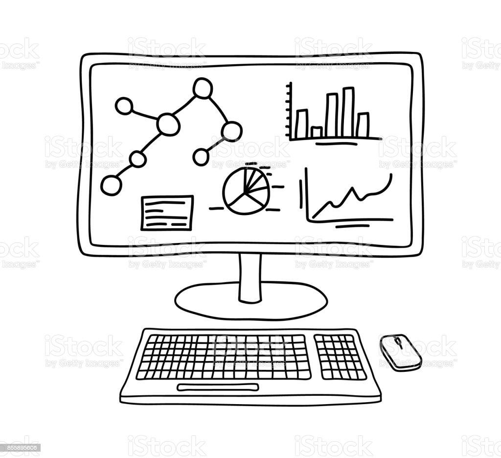 Computer Displaying Statistics And Analytics Data In Hand