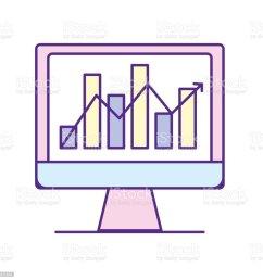 computer technology with statistics bar diagram illustration  [ 1024 x 1024 Pixel ]