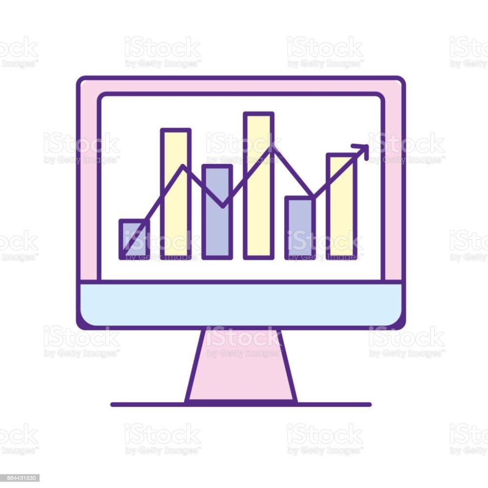 medium resolution of computer technology with statistics bar diagram illustration