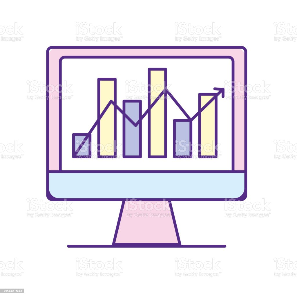 hight resolution of computer technology with statistics bar diagram illustration