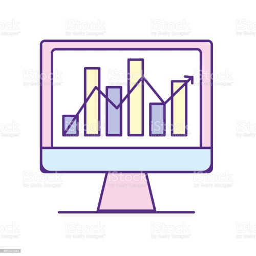 small resolution of computer technology with statistics bar diagram illustration