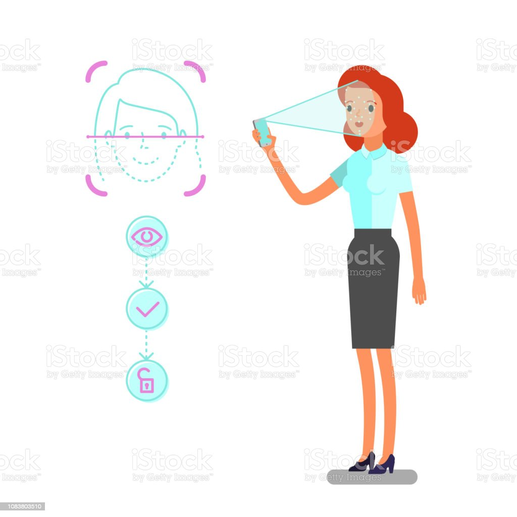hight resolution of concept of face identification cartoon business woman holds smartphone in his hand for getting access to device via face recognition technology