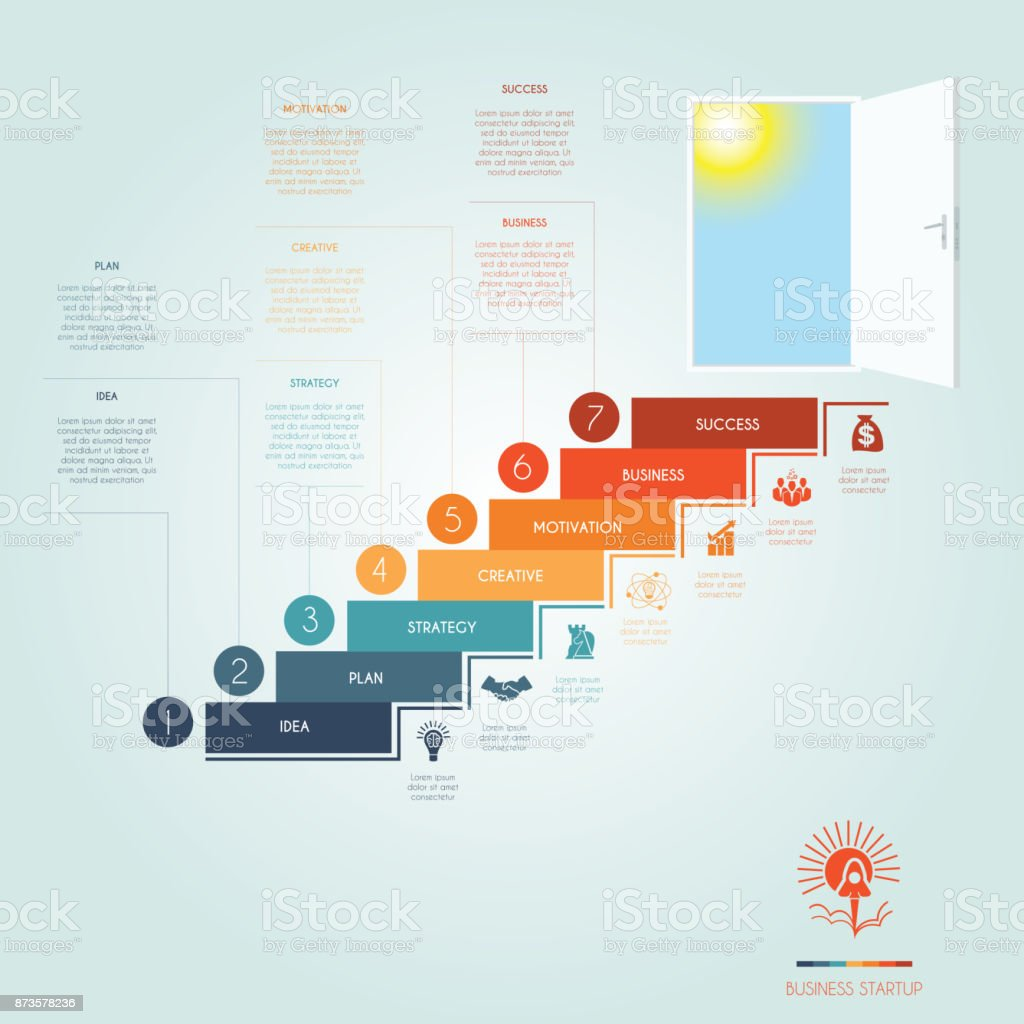 hight resolution of conceptual infographics steps up stairway to the open door business success startup template 7 positions possible to use for workflow banner diagram