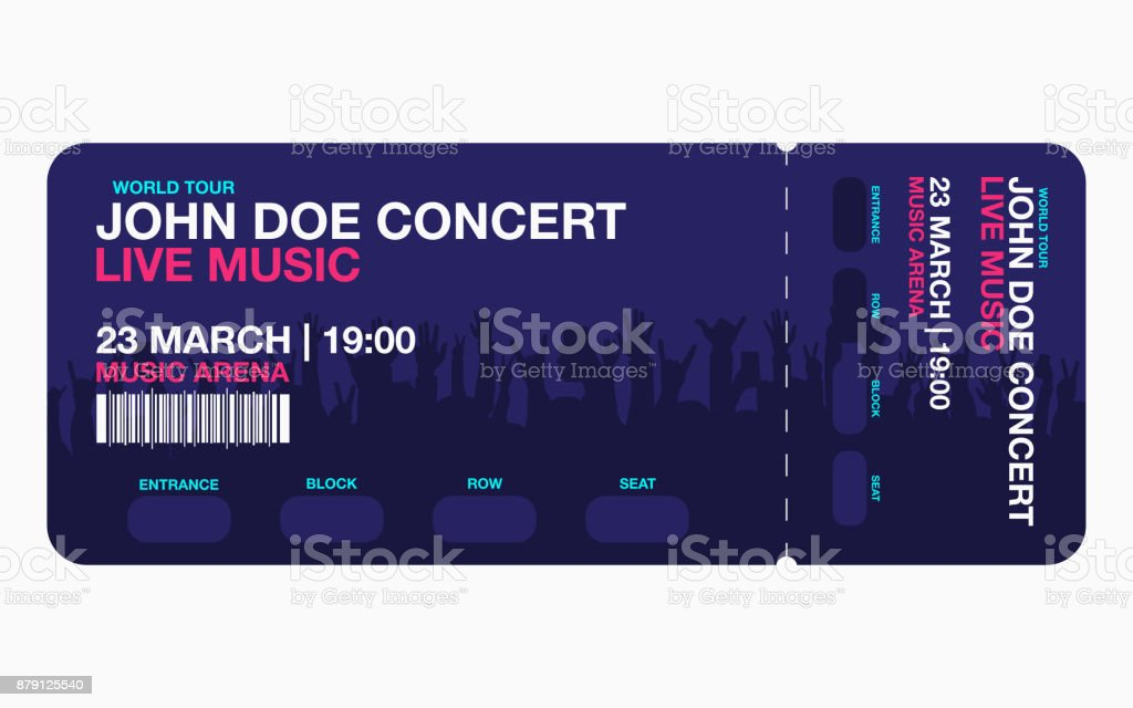 concert ticket template concert party or festival ticket design template with people crowd on background stock illustration download image now istock