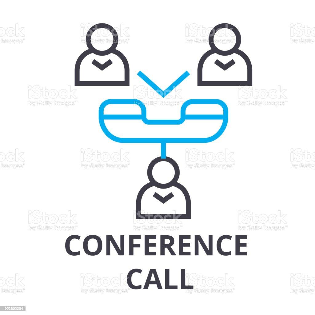 Conference Call Thin Line Icon Sign Symbol Illustation