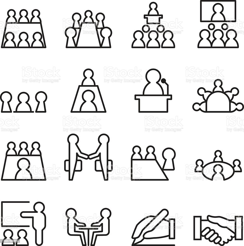 Conference Meeting Icon Set In Thin Line Style Stock