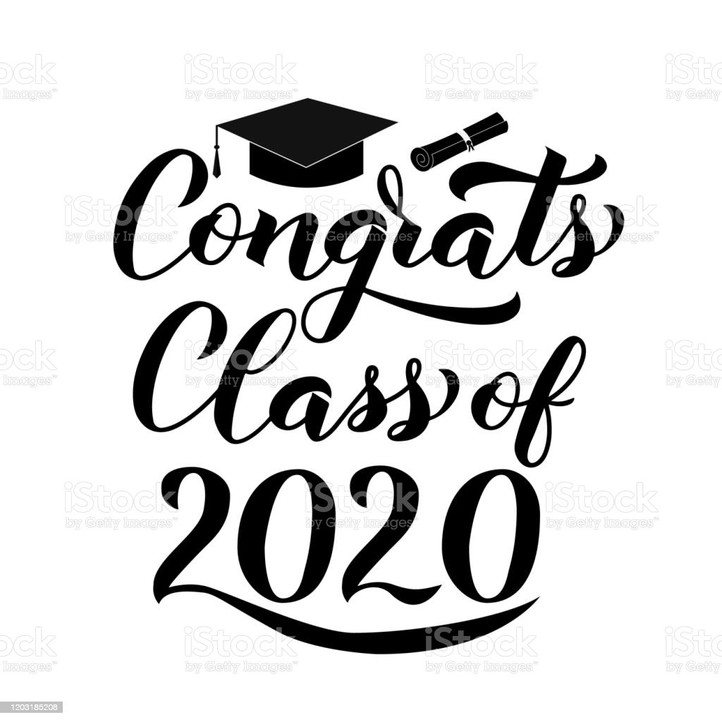 Congrats Class Of 2020 Lettering With Graduation Hat
