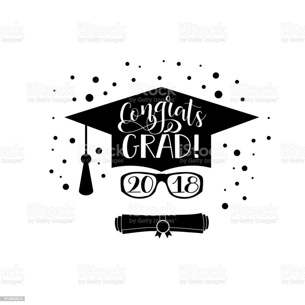 Ilustración de Felicidades Grad 2018 Letras Bandera De