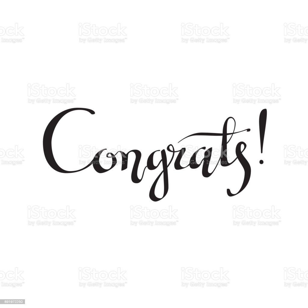 Congrats Hand Written Lettering For Congratulations Card