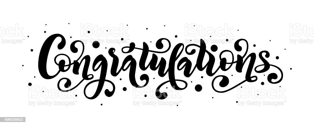 Congratulations Hand Lettering Quote Hand Drawn Modern