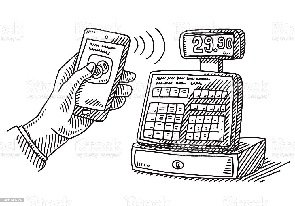 Contactless Payment Smartphone Cash Register Drawing Stock