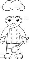Cook Coloring Page For Kids Stock Vector Art & More Images ...