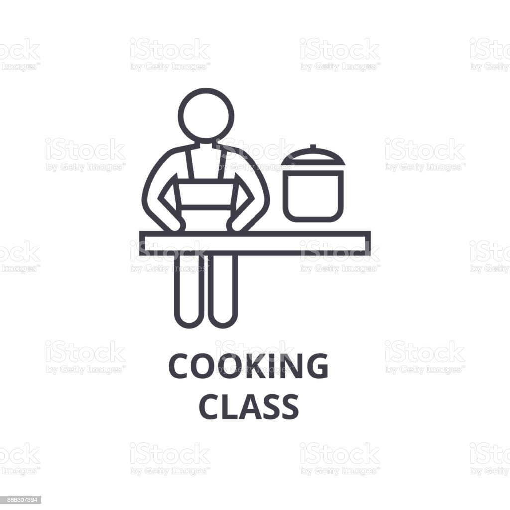 Cooking Class Line Icon Outline Sign Linear Symbol Vector