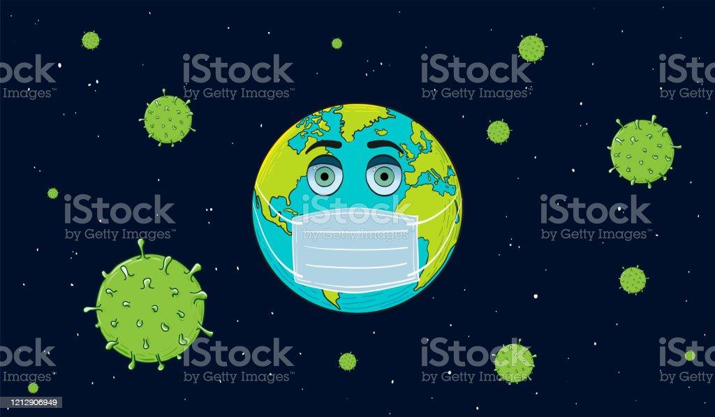 Earth Wearing Mask Corona Virus Cartoon