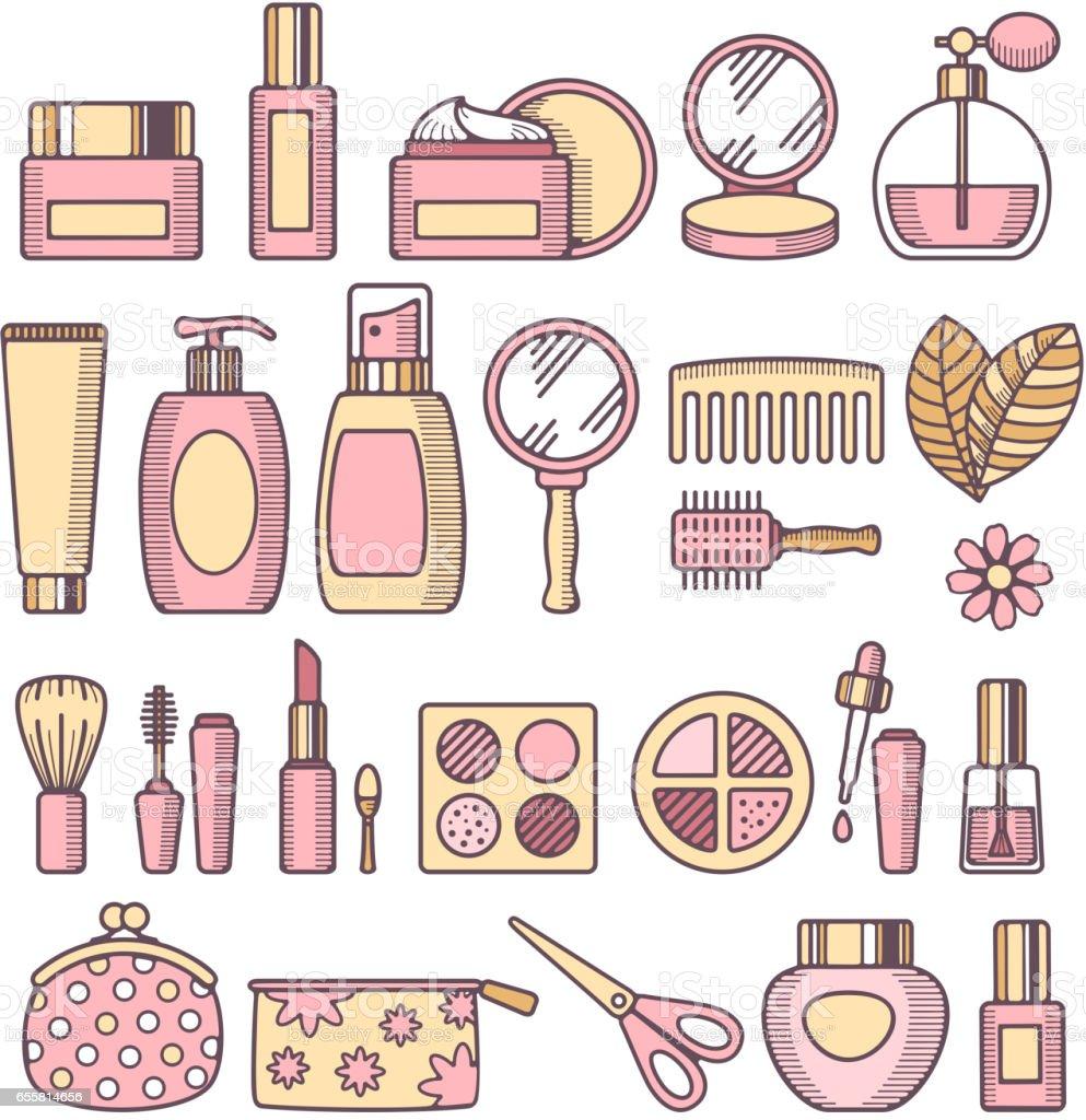 化妝品圖示集向量圖形及更多人的臉部圖片 - iStock