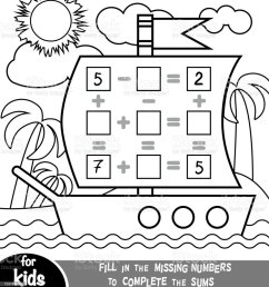 Counting Game For Preschool Children Addition And Subtraction Worksheets In  The Background Of The Ship Educational A Mathematical Game Stock  Illustration - Download Image Now - iStock [ 1024 x 942 Pixel ]