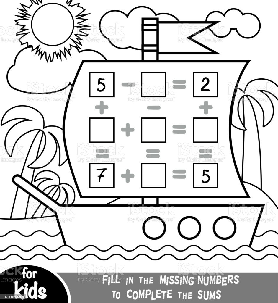 medium resolution of Counting Game For Preschool Children Addition And Subtraction Worksheets In  The Background Of The Ship Educational A Mathematical Game Stock  Illustration - Download Image Now - iStock